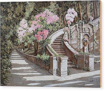 La Scalinata E I Fiori Rosa Wood Print by Guido Borelli
