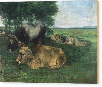La Siesta Pendant La Saison Des Foins Wood Print by Gustave Courbet