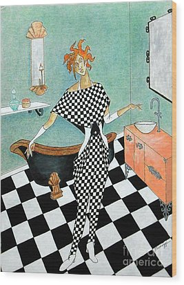 La Toilette -- Woman In Whimsical Art Deco Bathroom Wood Print