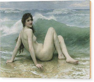 La Vague Wood Print by William Adolphe Bouguereau