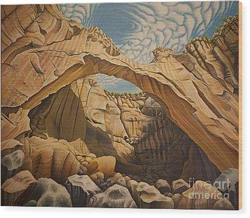 La Vantana Natural Arch Wood Print by Tish Wynne