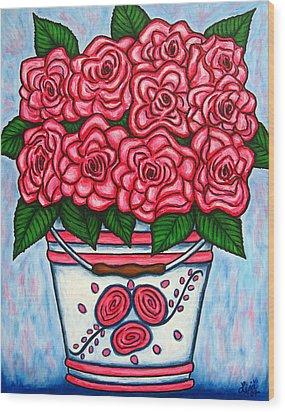La Vie En Rose Wood Print by Lisa  Lorenz
