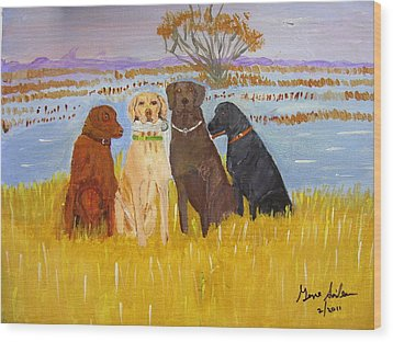 Lab Dogs Wood Print by Swabby Soileau