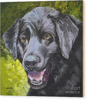 Lab Out Of The Pond Wood Print by Susan A Becker