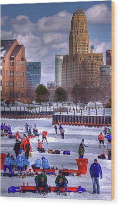 Wood Print featuring the photograph Labatt Pond Hockey 2011 by Don Nieman