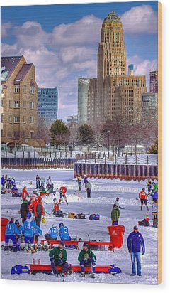 Wood Print featuring the photograph Labatts Pond Hockey by Don Nieman
