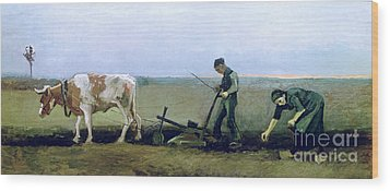 Labourer And Peasant  Wood Print by Vincent van Gogh