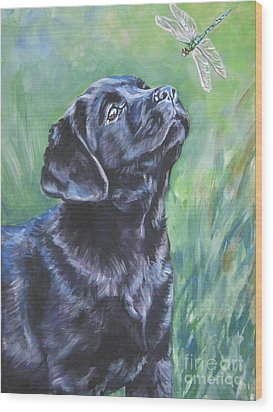 Labrador Retriever Pup And Dragonfly Wood Print