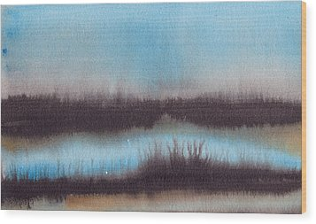 Wood Print featuring the painting Lac Au Soir by Marc Philippe Joly