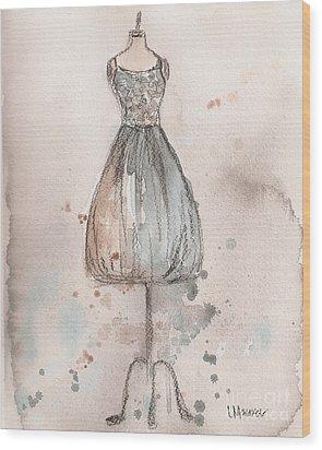 Lace Champagne Dress Wood Print by Lauren Maurer