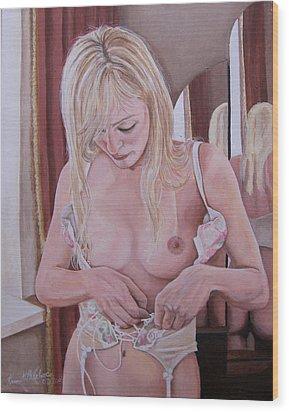 Lacing Corset Wood Print by Kenneth Kelsoe