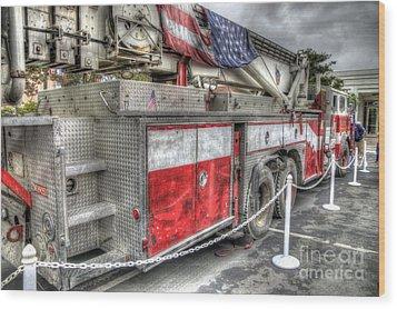 Ladder Truck 152 - 9-11 Memorial Wood Print by Eddie Yerkish