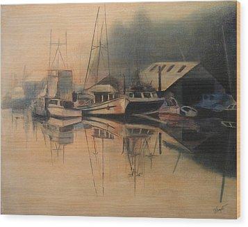 Ladner Mist Wood Print by Victoria Heryet