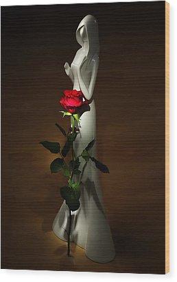 Lady And Rose Wood Print by Svetlana Sewell