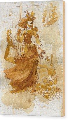 Lady Bonney Wood Print by Brian Kesinger