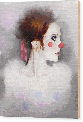 Lady Clown Wood Print by Robert Foster
