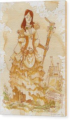 Lady Codex Wood Print by Brian Kesinger