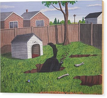 Lady Digs In The Backyard Wood Print