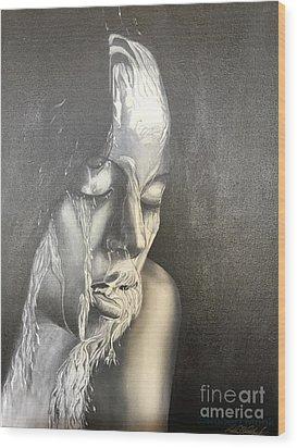 Lady Enjoying A Shower Wood Print