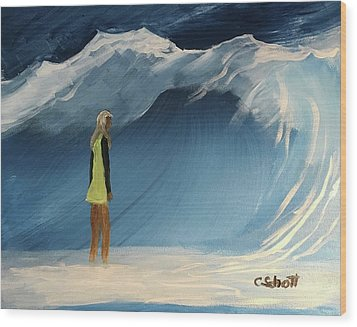 Lady Faces The Wave Wood Print