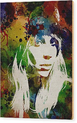 Lady Gaga Watercolor Wood Print by Mihaela Pater