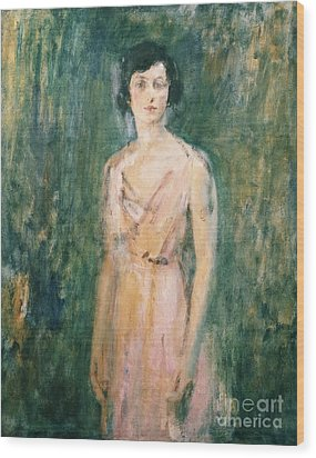 Lady In A Pink Dress Wood Print by Ambrose McEvoy
