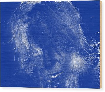 Lady In Blue Wood Print