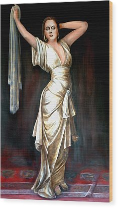 Lady In Gold Gown Wood Print