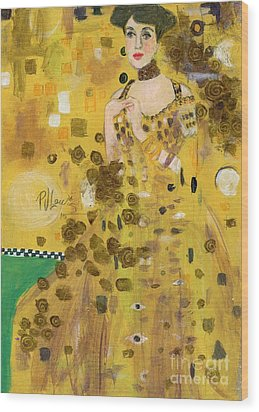 Lady In Gold Wood Print by P J Lewis