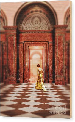 Lady In Golden Gown Walking Through Doorway Wood Print by Jill Battaglia