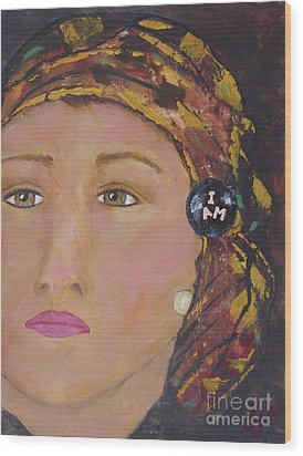 Lady In Head Scarf  Wood Print