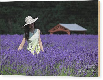Lady In Lavender Wood Print