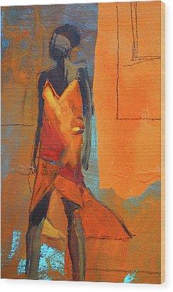 Wood Print featuring the painting Lady In Orange by Nancy Merkle