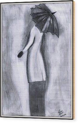 Lady In Rain Wood Print by Gaurav Patwari