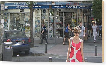 Lady In Red And White On Gaztambide Street - Madrid Wood Print by Thomas Bussmann