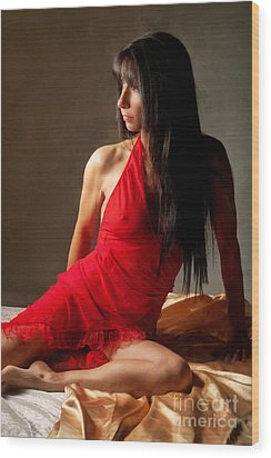 Lady In Red Wood Print by Naman Imagery