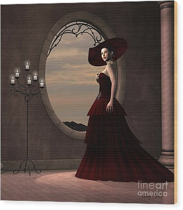 Lady In Red Dress Wood Print by Corey Ford