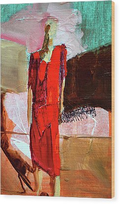Wood Print featuring the painting Lady In Red by Nancy Merkle