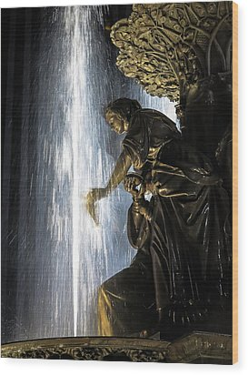Lady In The Fountain Wood Print