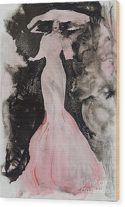 Lady In The Pink Hat Wood Print by Mary Haley-Rocks