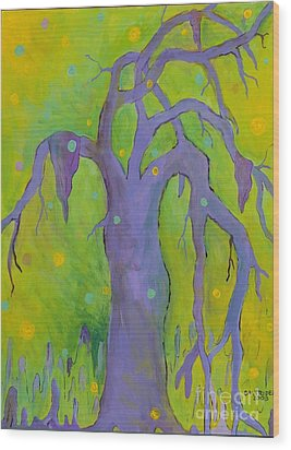 Lady In The Tree Wood Print by Alison Caltrider