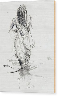 Wood Print featuring the drawing Lady In The Waters by Kerryn Madsen-Pietsch