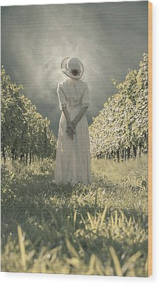 Lady In Vineyard Wood Print by Joana Kruse
