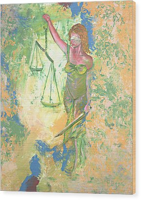 Lady Justice And The Man Wood Print by Peter Bonk