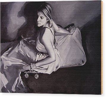 Lady Justice  Black And White Wood Print by Laura Pierre-Louis