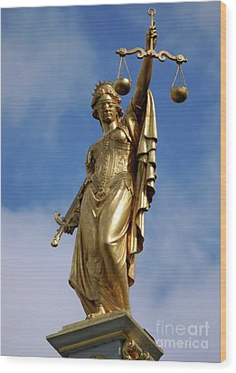 Wood Print featuring the photograph Lady Justice In Bruges by RicardMN Photography