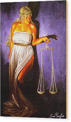 Lady Justice Long Scales Wood Print by Laura Pierre-Louis