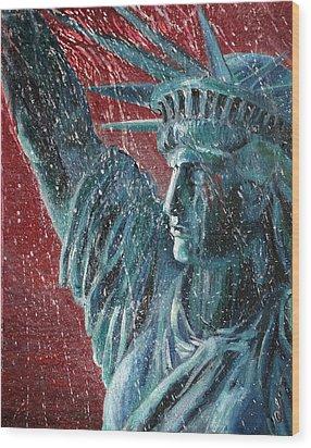 Lady Liberty In The Rain Wood Print by Alan Schwartz