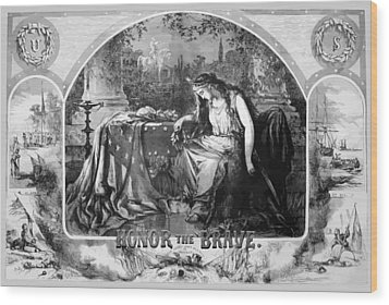 Lady Liberty Mourns During The Civil War Wood Print by War Is Hell Store