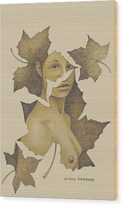 Wood Print featuring the photograph Lady Of The Leaf 3 by Tim Ernst